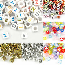 Hot Acrylic Alphabet Letter Beads Jewellery Making Cube 6x6/7x7mm Wholesale