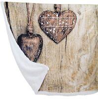 Coperta in pile plaid con sotto agnellato 130x160 invernale Cuori Shabby Cottage