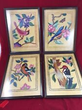 Antique Birds Audubon Crewel Needlepoint Nature Framed Set Of 4   ••STUNNING••