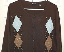 Maggie Barnes  Womans Brown Baby Blue White Argyle Cardigan Sweater Size 2X