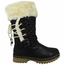 Womens Fur Lined Winter BOOTS Ladies High Top Ankle Shoe Girls Grip Sole Trainer Long Lace BOOTS Black 4 UK
