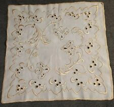 Antique Society Silk Embroidered Art Nouveau Square Cloth, Centerpiece Table Top