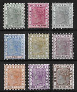GOLD COAST 1884-1891 Mint LH Complete Set of 9 SG #11-19 CV £200+ VF