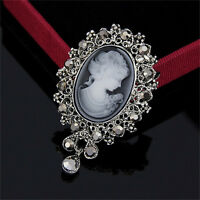 Vintage Cameo Victorian Style crystal Wedding Party Women Pendant Brooch Pin FO