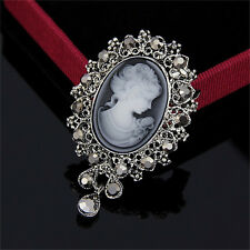 Vintage Cameo Victorian Style crystal Wedding Party Women Pendant Brooch Pin HS