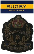 NEW Large Rugby Ralph Lauren Crown and shield Crest Bullion embroidered patch