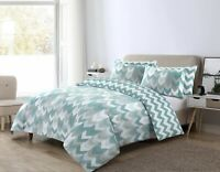 NightComfort Duck Egg & Grey Geometric Chevron Duvet Cover Set With Pillowcase