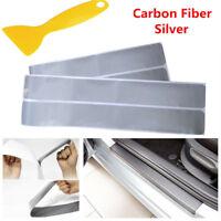 4Pcs 3D Carbon Fiber Silver Car Door Sill Scuff Plate Cover Anti Scratch Sticker