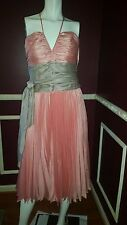 *NEW* BCBG MAXAZRIA PEACH PINK GRAY COCKTAIL PARTY WEDDING DRESS Sz 10 Rt $395