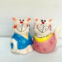 Vintage Happy Cat Salt Pepper Shakers Novelty Kitsch Set