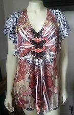 ONE WORLD SZ L  LONG STYLE  V-NECK  BLACK BUTTERFLY APPLIQUES    SHORT SLEEVES !