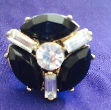 "Black Made with Swarovski Crystals Fashion Stretch Ring Abt 2.25"""
