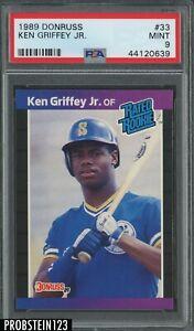 1989 Donruss #33 Ken Griffey Jr. Seattle Mariners RC Rookie HOF PSA 9 MINT