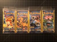 """4 Sealed POKÉMON """"XY Evolutions"""" 3 card Booster Packs ALL 4 ARTWORKS last one"""