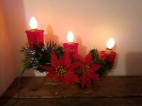 Vintage 1950s Christmas Sled 3 Candle Plastic Lighted Pointsettia Decoration