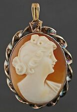 Rare Vintage Carved Conch Shell Cameo, Yellow Gold Filled Locket Pendant