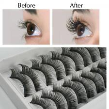 10pairs Makeup Thick Black Eye Lashes Extension False Eyelashes Handmade
