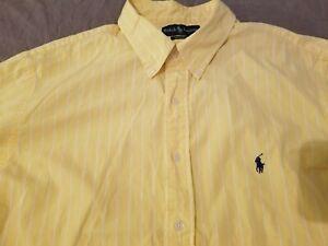 Mens Polo Ralph Lauren Dress Shirt 18 34 35 Yellow Stripes Button Cotton