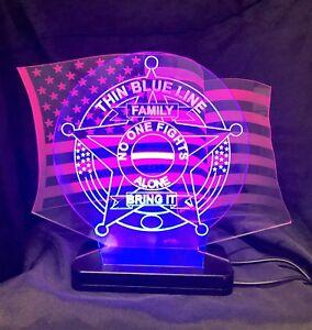 Police, Blue Line, American Flag, LED Desktop/Bar Lamp