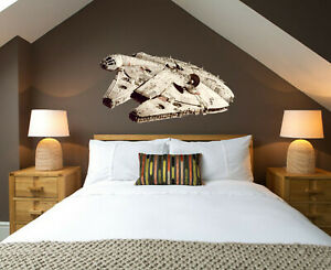 3D Star Falcon Wars Space Ship Childrens Wall Stickers Bedroom Decal
