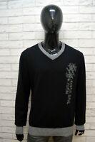 GAS Maglione Uomo Pullover Lana Maglia Taglia XL Sweater Casual Cardigan Nero