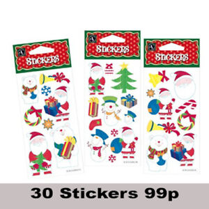 Christmas Stickers Festive Adhesive for Cards and Crafts Pack of 30