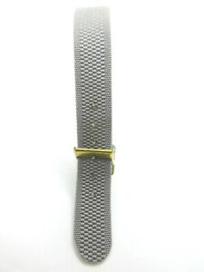 Grey Woven Nylon One Piece 14mm Watch Strap Band Gold Buckle