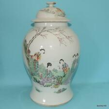 CHINESE PORCELAIN TEMPLE JAR VASE GIANT DETAILLED CHARACTER 17`4 INCHES ANTIQUE