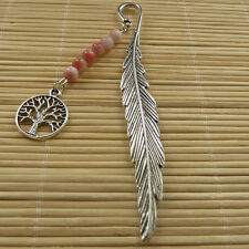 10pcs tibetan silver leaves bookmarks with jade bead tree charms ZH977