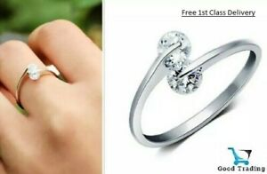 925 Sterling Silver Ring Clear Crystal Cubic Zircon Bridal Adjustable
