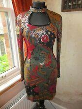 Fab Lillie Rubin Vintage 1980s Beaded Multicolour Stretch Mini Party Dress 10-12