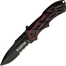 Smith & Wesson Black Ops Linerlock A/O Knife SWBLOP3RS Red and black handles. 4