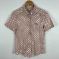 Le Ble En Herbe Womens Top Large Pink Polka Dot Short Sleeve Collared