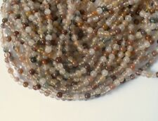 "Rutilated Quartz 4mm Round Stone Beads 16"" Strand Natural Needles"