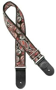 """Gaucho Guitar Strap Black/Red/Green 2"""" Wide Paisley Style Jacquard Weave"""