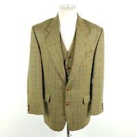 Vintage Peek & Cloppenburg Tweed Sakko & Weste Herren Gr. 48 Grün Kariert