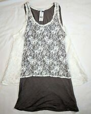 Georgiou Mystree Cute Tank Top Double Shirt Womens Size Large Floral Lace White
