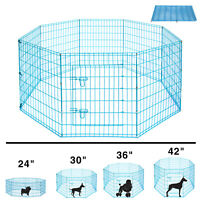 24'' 30'' 36'' 42'' Metal Dog Exercise Playpen Pet Crate Fence Folding 8 Panels