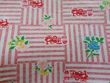 WTW Fabric Vintage Floral Flower Train Novelty Retro Trains Mod  BTY Quilt