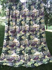 Vintage Scenic Print Barkcloth 2 Drape Curtains 22/84 Long
