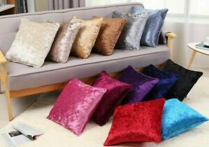 Velvet Crushed Cushions or Covers Only Luxury Plush Plain Design In 2 Diff Sizes