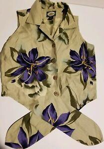 Womans Xs Tommy Bahama Hawaiian Silk Button Down Shirt Cork Buttons Waist Tye