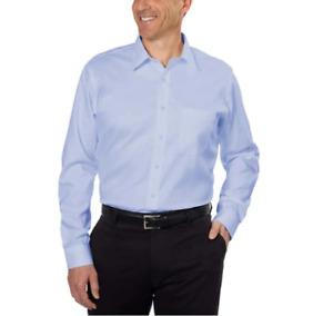 Kirkland Signature Mens Dress Shirt Tailored Fit Blue Big Tall Sz 19 X 34/35