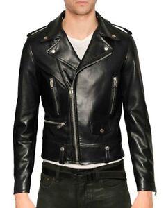 Men's Genuine Lambskin Leather Motorcycle Jacket Slim Fit Biker Jacket
