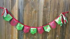 Christmas Decoration Banner Garland Embroidered Letters -Red Grosgrain