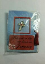 Cross Small Button Pinback Pin New January Deep Red Rd Birthday Stone Astrology