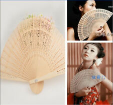 New cute Folding Bamboo Original Wooden Carved Hand Fan Wedding Bridal Party