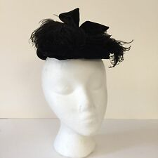 Antique Victorian Ladies Calot Hat Black Velvet Ostrich Feathers Tagged Cousley