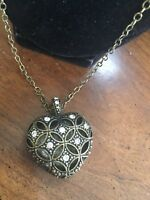 Vintage Signed - Brass Tone Rhinestones Puffy Heart Pendant Necklace Free Ship