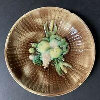 "Antique Majolica Fruit on Basketweave Bowl Charger 8 5/8"""